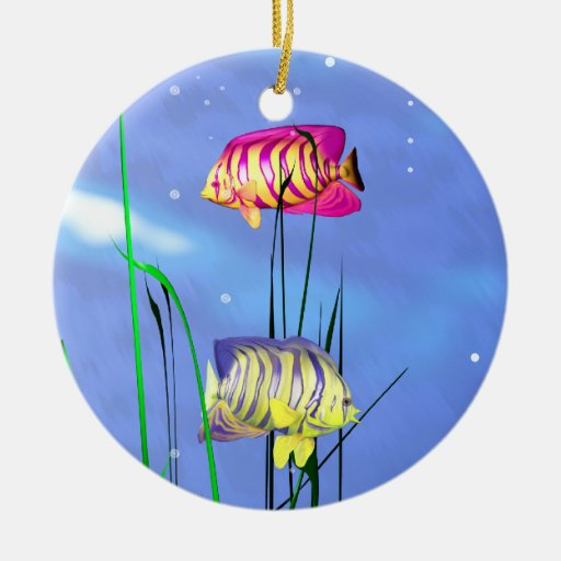 Colorful 3d Angelfish Christmas Ornaments
