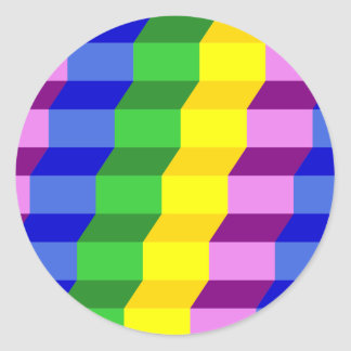 Colorful 3D Staircase Optical Illusion Pattern Classic Round Sticker
