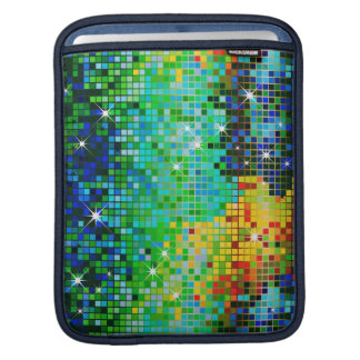 Colorful 80's Retro Disco Ball Pattern-Green iPad Sleeve