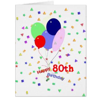 Colorful 80th Birthday Balloons Big Greeting Card