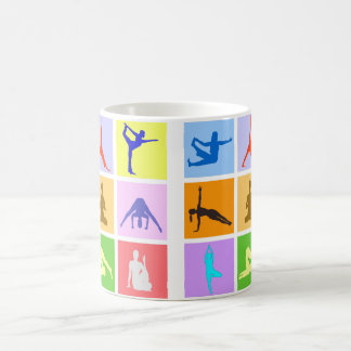 Colorful 9 Yoga Poses Coffee Mug