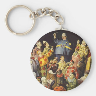 "COLORFUL ""A MEETING OF CLOWNS"" CUTE KEY-CHAIN BASIC ROUND BUTTON KEY RING"