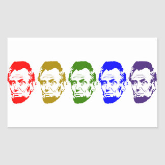 Colorful Abe Lincoln Abstract Art Rectangular Sticker