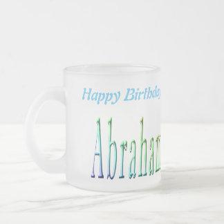 Colorful Abraham Boys Name Logo, Frosted Glass Coffee Mug