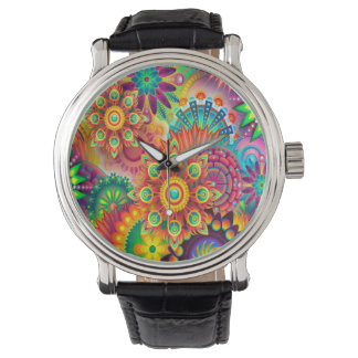 Colorful Abstract Art Background Watch