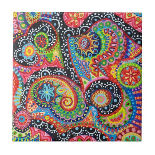 Colorful Abstract Art Ceramic Tile
