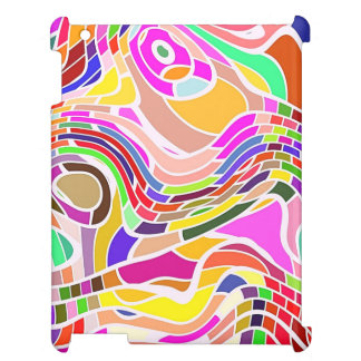 Colorful Abstract Art, Colorful Shapes White Lines iPad Case