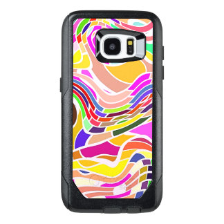 Colorful Abstract Art, Colorful Shapes White Lines OtterBox Samsung Galaxy S7 Edge Case