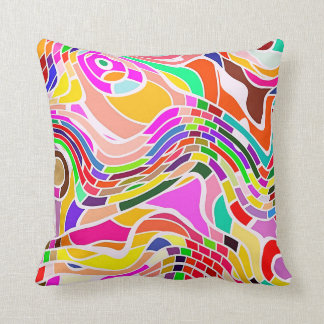 Colorful Abstract Art, Colorful Shapes White Lines Throw Pillow