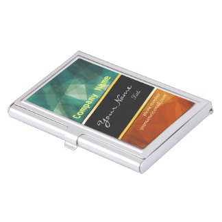 Colorful Abstract Art Geometric Pattern Gold Strip Business Card Holders