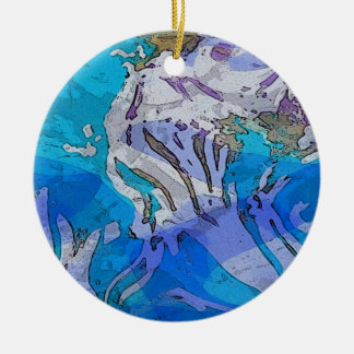 Colorful Abstract Art Ornament in Blues