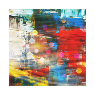 Colorful Abstract Art Paint Splatters Design Gallery Wrapped Canvas