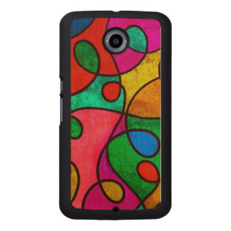 Colorful abstract art wood phone case