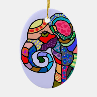 Colorful abstract artistic elephant head christmas ornament