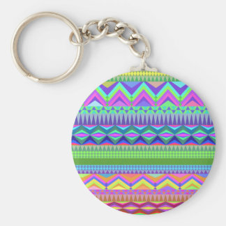 Colorful Abstract Aztec Pattern Basic Round Button Key Ring