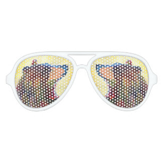 Colorful Abstract Bear Art Aviator Sunglasses