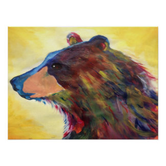 Colorful Abstract Bear Art Poster