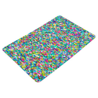 Colorful Abstract Blue And Purple Grid Floor Mat