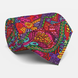 Colorful Abstract Boho Doodle Drawing Graffiti Tie
