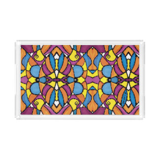 Colorful Abstract Bright Colors Acrylic Tray