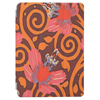 Colorful Abstract Brown Twirls Pink Butterflies iPad Air Cover