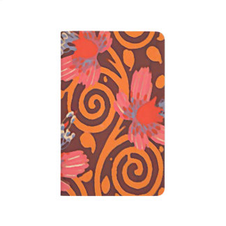 Colorful Abstract Brown Twirls Pink Butterflies Journal