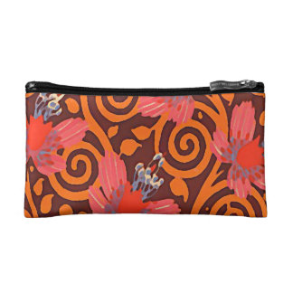 Colorful Abstract Brown Twirls Pink Butterflies Makeup Bag