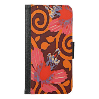 Colorful Abstract Brown Twirls Pink Butterflies Samsung Galaxy S6 Wallet Case
