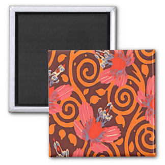 Colorful Abstract Brown Twirls Pink Butterflies Square Magnet
