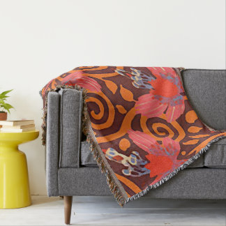 Colorful Abstract Brown Twirls Pink Butterflies Throw Blanket