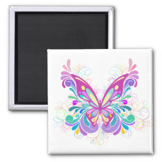 Colorful Abstract Butterfly Square Magnet
