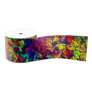 Colorful Abstract Chaotic Pattern Grosgrain Ribbon