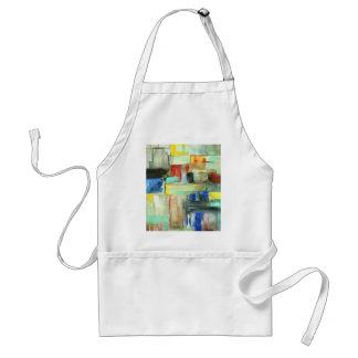Colorful Abstract Cityscape Original Art Painting Standard Apron
