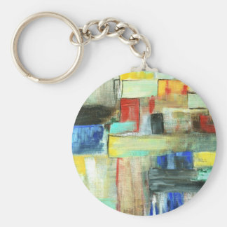 Colorful Abstract Cityscape Original Art Painting Basic Round Button Key Ring