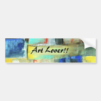 Colorful Abstract Cityscape Original Art Painting Bumper Sticker