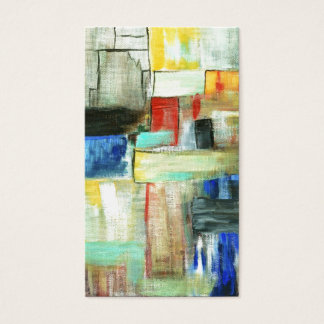 Colorful Abstract Cityscape Original Art Painting Business Card