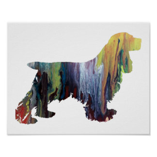 Colorful abstract cocker spaniel silhouette poster