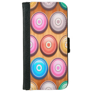 Colorful Abstract Concentric Circles Pattern iPhone 6 Wallet Case