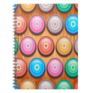 Colorful Abstract Concentric Circles Pattern Note Book