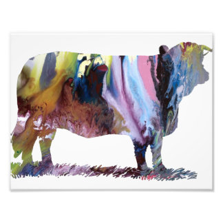 Colorful abstract  cow silhouette photo print