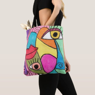 Colorful Abstract Cubism Big Eyes Bold Lips Bright Tote Bag