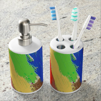 Colorful Abstract Dab Lines Bathroom Set