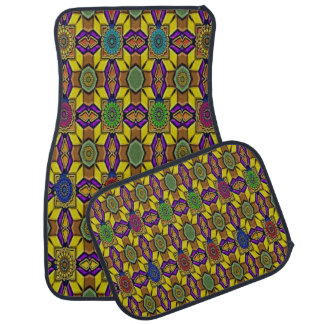Colorful Abstract Decorative Set of 4 Car Mats