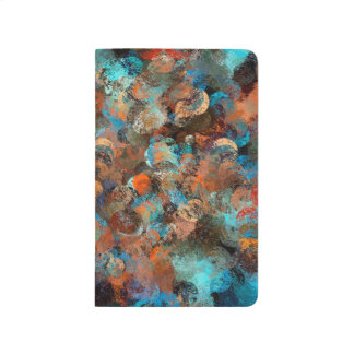 Colorful Abstract Design, Blues And Brown Circles Journal