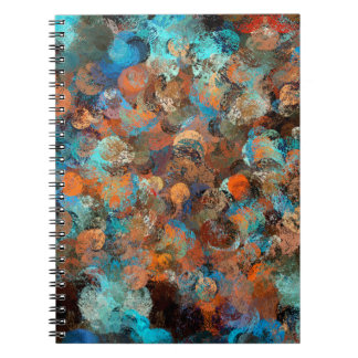 Colorful Abstract Design, Blues And Brown Circles Spiral Note Book