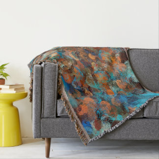 Colorful Abstract Design, Blues And Brown Circles Throw Blanket