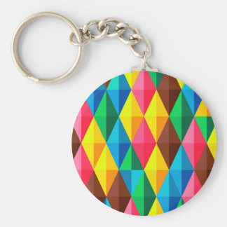 Colorful Abstract Diamond Shape Background Basic Round Button Key Ring