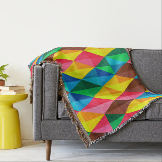Colorful Abstract Diamond Shape Background Throw Blanket