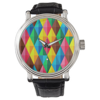Colorful Abstract Diamond Shape Background Wristwatch