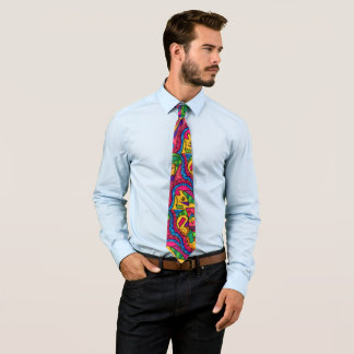 Colorful Abstract Doodle Drawing Graffiti Boho Tie